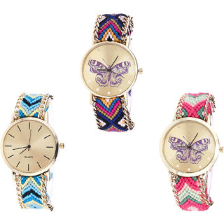 Neutron Latest High Quality Butterfly Analogue Multi Color Color Girls And Women Watch - G140-G314-G139 (Combo Of  3 )