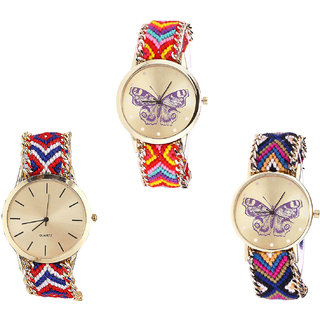 Neutron New Traditional Butterfly Analogue Multi Color Color Girls And Women Watch - G131-G168-G140 (Combo Of  3 )