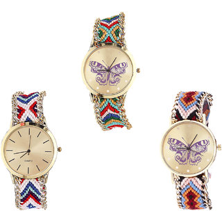 Neutron Brand New Technology Butterfly Analogue Multi Color Color Girls And Women Watch - G132-G313-G138 (Combo Of  3 )