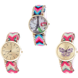 Neutron Best Model Paris Eiffel Tower And Butterfly Analogue Multi Color Color Girls And Women Watch - G143-G317-G139 (Combo Of  3 )