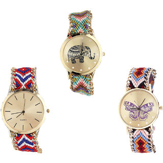 Neutron Classical Fancy Elephant And Butterfly Analogue Multi Color Color Girls And Women Watch - G157-G168-G138 (Combo Of  3 )