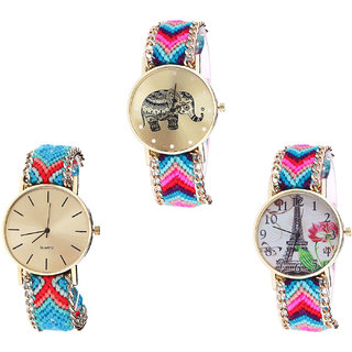 Neutron Best Gift Elephant And Paris Eiffel Tower Analogue Multi Color Color Girls And Women Watch - G154-G315-G143 (Combo Of  3 )