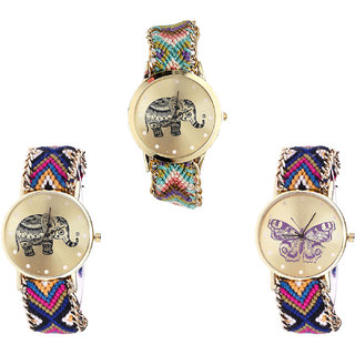 Neutron Brand New Professional Elephant And Butterfly Analogue Multi Color Color Girls And Women Watch - G157-G311-G140 (Combo Of  3 )