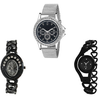 Neutron Latest Heart Chain Analogue Silver And Black Color Girls And Women Watch - G281-G363-G68 (Combo Of  3 )