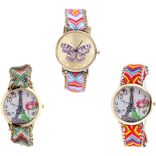 Neutron Treading Casual Butterfly And Paris Eiffel Tower Analogue Multi Color Color Girls And Women Watch - G142-G146-G144 (Combo Of  3 )