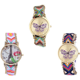 Neutron Modern Casual Butterfly And Paris Eiffel Tower Analogue Multi Color Color Girls And Women Watch - G133-G310-G140 (Combo Of  3 )
