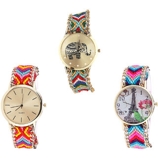 Neutron New Gift Elephant And Paris Eiffel Tower Analogue Multi Color Color Girls And Women Watch - G156-G165-G143 (Combo Of  3 )