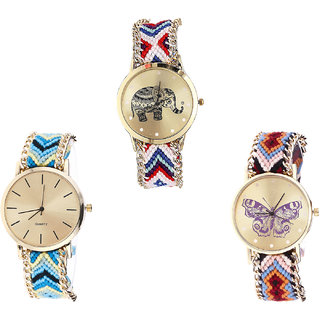 Neutron Best Love Elephant And Butterfly Analogue Multi Color Color Girls And Women Watch - G159-G314-G138 (Combo Of  3 )