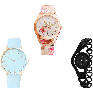 Neutron Classical Rich Flower, Chronograph And Chain Analogue White And Black Color Girls And Women Watch - G305-G192-G68 (Combo Of  3 )