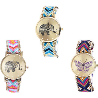 Neutron Contemporary Valentine Elephant And Butterfly Analogue Multi Color Color Girls And Women Watch - G160-G312-G140 (Combo Of  3 )