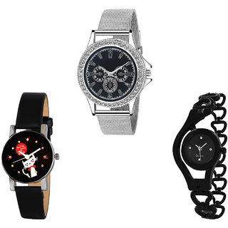 Neutron Classical Stylish Cute Cat And Chain Analogue Silver And Black Color Girls And Women Watch - G281-G391-G68 (Combo Of  3 )