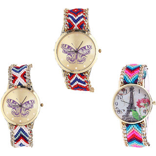 Neutron New Branded Butterfly And Paris Eiffel Tower Analogue Multi Color Color Girls And Women Watch - G134-G135-G143 (Combo Of  3 )