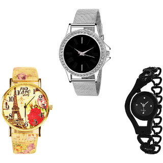 Neutron Brand New Analogue Paris Eiffel Tower And Chain Analogue Silver, Multi Color And Black Color Girls And Women Watch - G288-G255-G68 (Combo Of  3 )