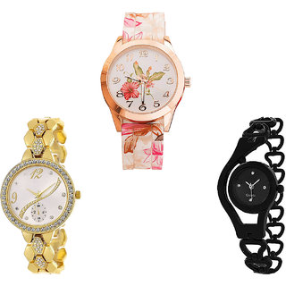 Neutron Classical Quartz Flower And Chain Analogue White, Gold And Black Color Girls And Women Watch - G305-G223-G68 (Combo Of  3 )
