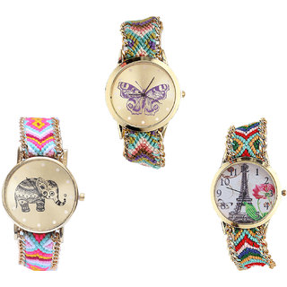 Neutron Latest Fancy Butterfly, Elephant And Paris Eiffel Tower Analogue Multi Color Color Girls And Women Watch - G133-G312-G145 (Combo Of  3 )