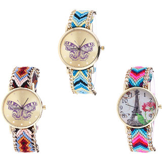 Neutron Treading High Quality Butterfly And Paris Eiffel Tower Analogue Multi Color Color Girls And Women Watch - G136-G138-G143 (Combo Of  3 )