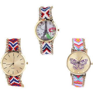 Neutron Latest Casual Paris Eiffel Tower And Butterfly Analogue Multi Color Color Girls And Women Watch - G148-G168-G142 (Combo Of  3 )
