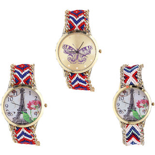 Neutron Latest Collection Butterfly And Paris Eiffel Tower Analogue Multi Color Color Girls And Women Watch - G134-G147-G148 (Combo Of  3 )
