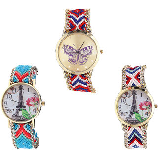 Neutron Latest Technology Butterfly And Paris Eiffel Tower Analogue Multi Color Color Girls And Women Watch - G134-G150-G148 (Combo Of  3 )