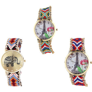 Neutron Contemporary Professional Paris Eiffel Tower And Elephant Analogue Multi Color Color Girls And Women Watch - G145-G162-G147 (Combo Of  3 )