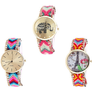 Neutron Classical Royal Elephant And Paris Eiffel Tower Analogue Multi Color Color Girls And Women Watch - G163-G164-G144 (Combo Of  3 )