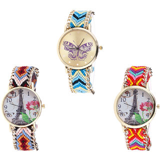Neutron Latest Casual Butterfly And Paris Eiffel Tower Analogue Multi Color Color Girls And Women Watch - G136-G151-G144 (Combo Of  3 )