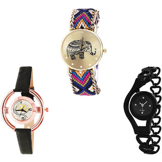 Neutron Brand New Quartz Elephant, Butterfly And Chain Analogue Multi Color And Black Color Girls And Women Watch - G311-G423-G68 (Combo Of  3 )