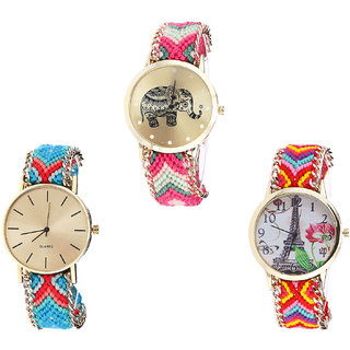 Neutron Classical Love Elephant And Paris Eiffel Tower Analogue Multi Color Color Girls And Women Watch - G163-G315-G144 (Combo Of  3 )