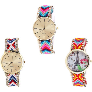 Neutron Classical Model Paris Eiffel Tower Analogue Multi Color Color Girls And Women Watch - G164-G313-G144 (Combo Of  3 )