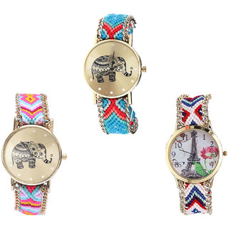 Neutron New Traditional Elephant And Paris Eiffel Tower Analogue Multi Color Color Girls And Women Watch - G161-G312-G148 (Combo Of  3 )