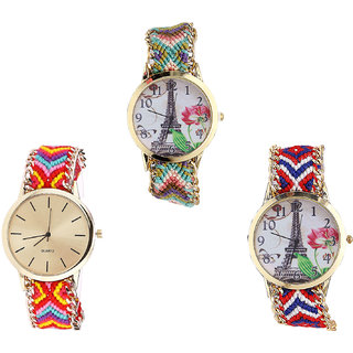 Neutron Latest Style Paris Eiffel Tower Analogue Multi Color Color Girls And Women Watch - G146-G165-G147 (Combo Of  3 )