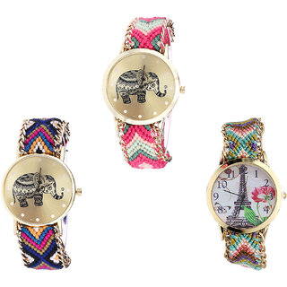 Neutron Brand New Branded Elephant And Paris Eiffel Tower Analogue Multi Color Color Girls And Women Watch - G163-G311-G146 (Combo Of  3 )