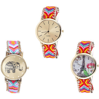 Neutron Best Party Wedding Elephant And Paris Eiffel Tower Analogue Multi Color Color Girls And Women Watch - G165-G312-G144 (Combo Of  3 )