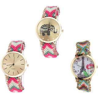 Neutron Brand New Fashionable Elephant And Paris Eiffel Tower Analogue Multi Color Color Girls And Women Watch - G163-G317-G146 (Combo Of  3 )
