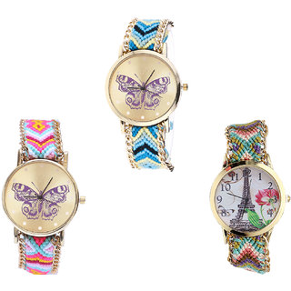 Neutron Treading Technology Butterfly And Paris Eiffel Tower Analogue Multi Color Color Girls And Women Watch - G136-G142-G146 (Combo Of  3 )