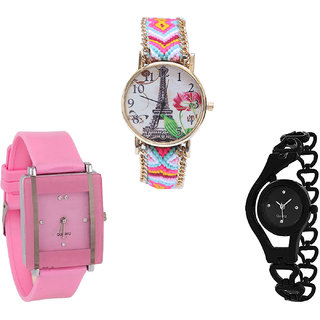 Neutron Treading Designer Paris Eiffel Tower And Chain Analogue Multi Color, Pink And Black Color Girls And Women Watch - G310-G14-G68 (Combo Of  3 )
