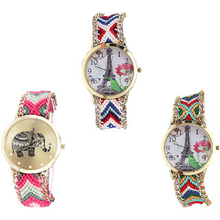 Neutron New Italian Designer Paris Eiffel Tower And Elephant Analogue Multi Color Color Girls And Women Watch - G148-G163-G145 (Combo Of  3 )