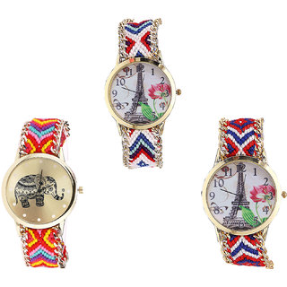Neutron Latest Collection Paris Eiffel Tower And Elephant Analogue Multi Color Color Girls And Women Watch - G148-G155-G147 (Combo Of  3 )