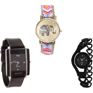 Neutron Contemporary Heart Elephant And Chain Analogue Multi Color And Black Color Girls And Women Watch - G312-G12-G68 (Combo Of  3 )