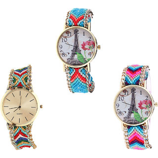 Neutron Contemporary Traditional Paris Eiffel Tower Analogue Multi Color Color Girls And Women Watch - G150-G166-G143 (Combo Of  3 )