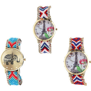 Neutron Latest Italian Designer Paris Eiffel Tower And Elephant Analogue Multi Color Color Girls And Women Watch - G148-G161-G147 (Combo Of  3 )