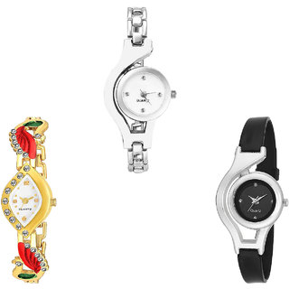 Neutron Classical Gift Chain, Peacock And World Cup Analogue Silver, Gold And Black Color Girls And Women Watch - G70-G116-G1 (Combo Of  3 )