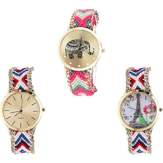 Neutron Latest 3D Design Elephant And Paris Eiffel Tower Analogue Multi Color Color Girls And Women Watch - G163-G313-G148 (Combo Of  3 )