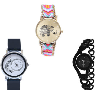 Neutron Contemporary Quartz Elephant, Peacock And Chain Analogue Multi Color And Black Color Girls And Women Watch - G312-G18-G68 (Combo Of  3 )
