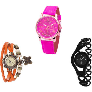 Neutron Best Exclusive Chronograph, Butterfly And Chain Analogue Pink, Orange And Black Color Girls And Women Watch - G308-G62-G68 (Combo Of  3 )