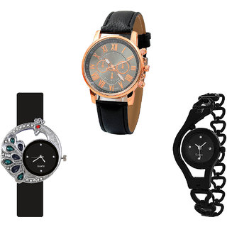 Neutron Latest Rich Chronograph, Peacock And Chain Analogue Black Color Girls And Women Watch - G306-G76-G68 (Combo Of  3 )