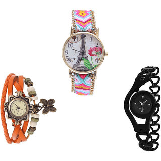 Neutron Modern Luxury Paris Eiffel Tower, Butterfly And Chain Analogue Multi Color, Orange And Black Color Girls And Women Watch - G310-G62-G68 (Combo Of  3 )