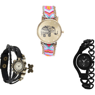 Neutron Latest Luxury Elephant, Butterfly And Chain Analogue Multi Color And Black Color Girls And Women Watch - G312-G58-G68 (Combo Of  3 )