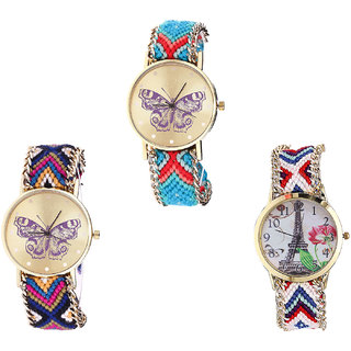 Neutron New Italian Designer Butterfly And Paris Eiffel Tower Analogue Multi Color Color Girls And Women Watch - G137-G140-G148 (Combo Of  3 )