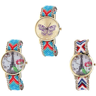 Neutron Latest Fancy Butterfly And Paris Eiffel Tower Analogue Multi Color Color Girls And Women Watch - G137-G150-G148 (Combo Of  3 )